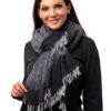 Vävd sjal - tvåfärgad kashmirsjal ljusgrå och antrasitgrå