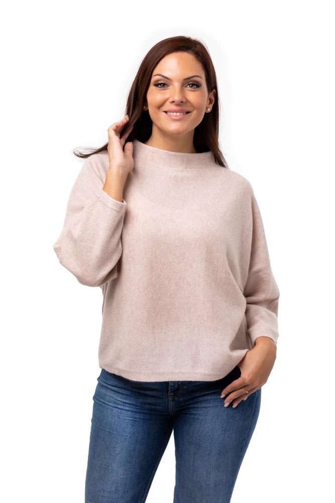 Tröja Julia - trendig kashmirtröja med högre halskant puderbeige