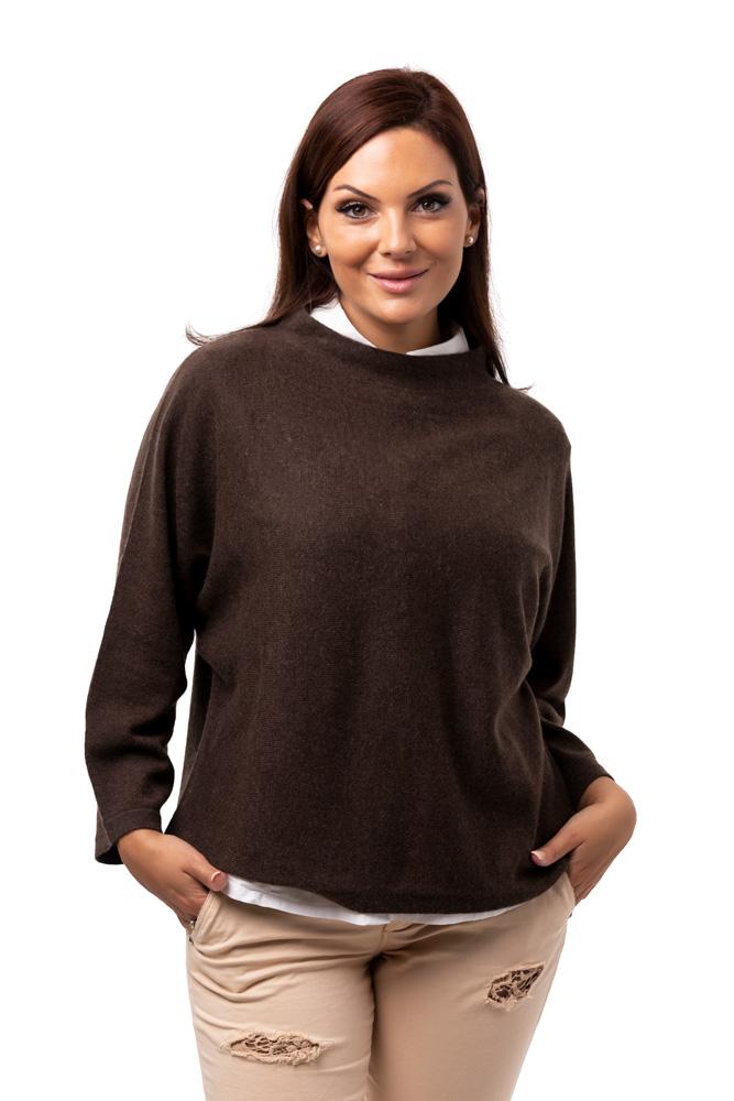 Tröja Julia - trendig kashmirtröja med högre halskant brun