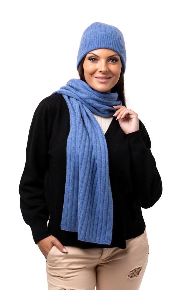 Halsduk ribbad- Klassisk unisex-hasduk i finaste kashmir irisblå