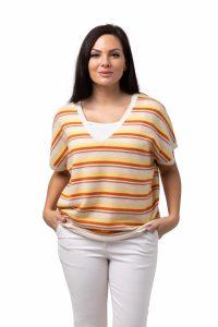 Tröja Elin-kortärmad v-ringad tröja i oversizemodell randig