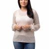 Tröja Filippa - feminin tröja med vackert spetsmönster krämvit