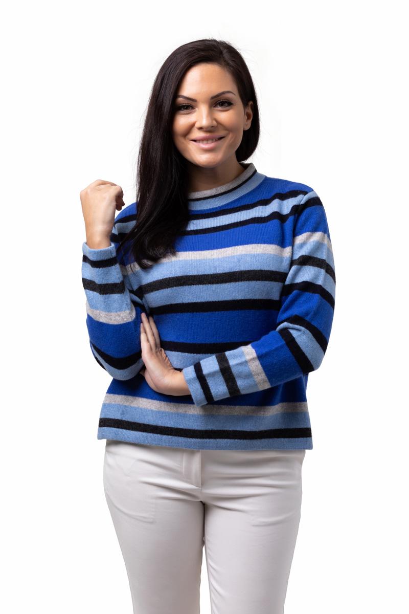 Tröja Julia - trendig kashmirtröja med högre halskant blårandig