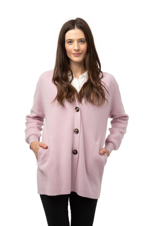 Kofta Alicia - v- ringad kofta med knappar och fickor rosa