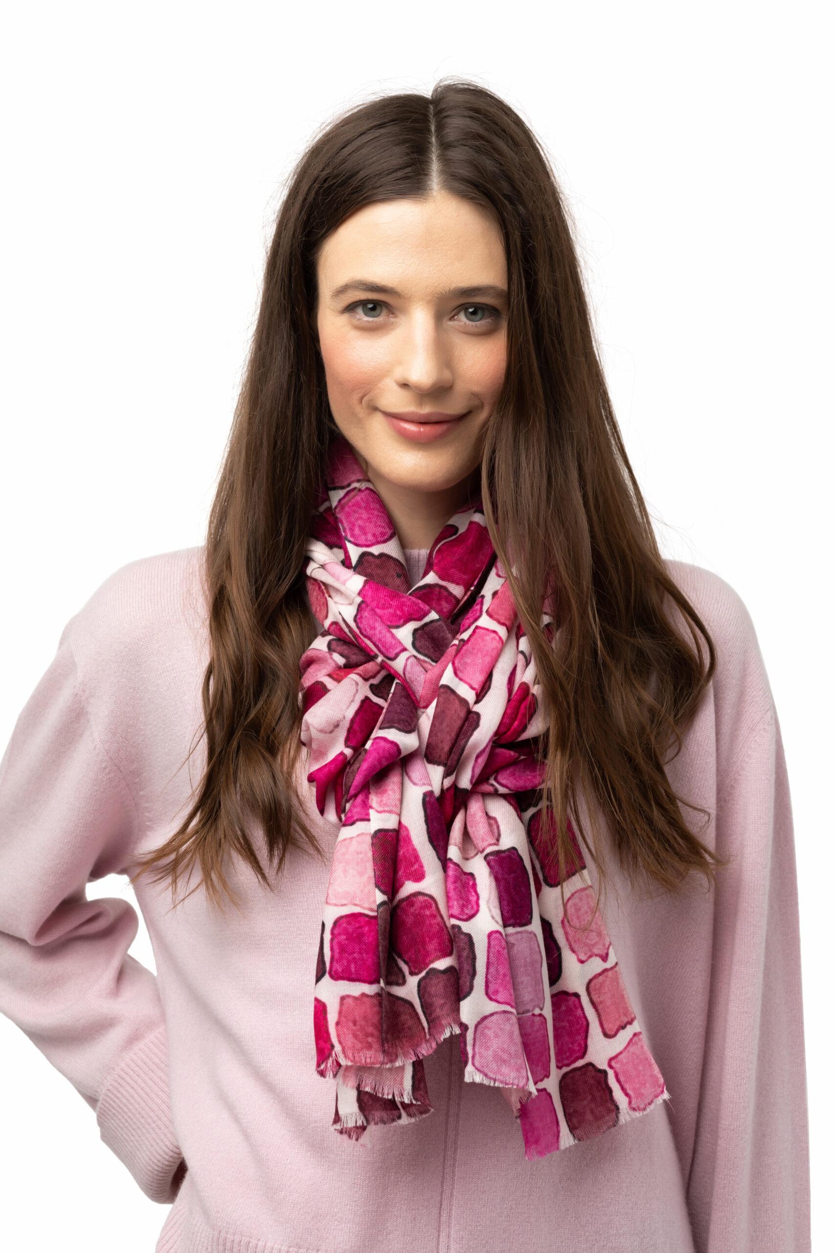 Vävd sjal - kashmirsjal av 8design Cashmere rosa