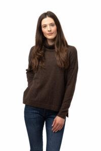 Tröja Polo - oversize trendig polotröja i kashmir brun