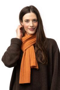 Halsduk ribbad- Klassisk unisex-hasduk i finaste kashmir orange