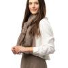 Vävd sjal - enfärgad kashmirsjal med fransar beige