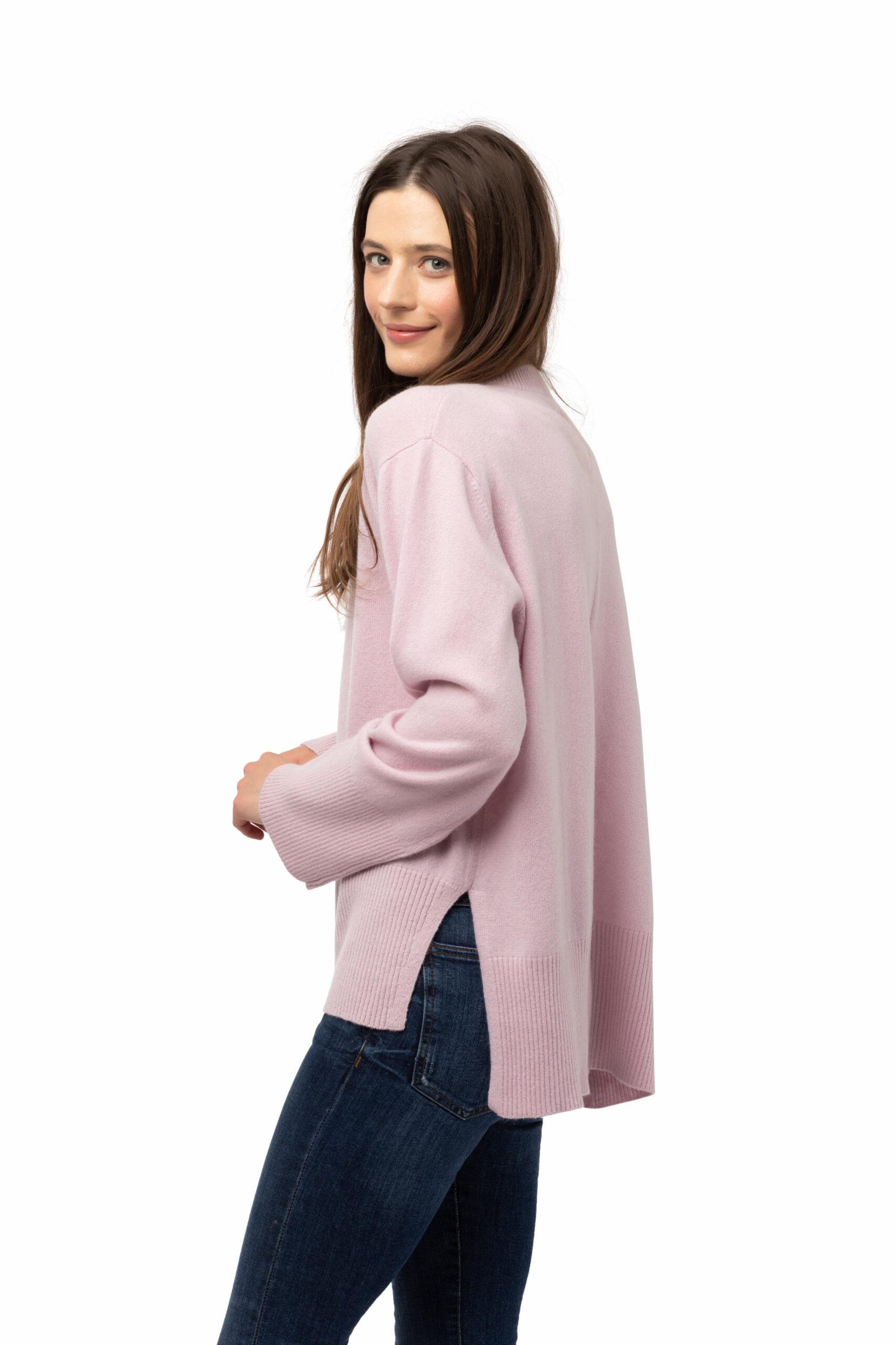 Tröja Johanna - rundhalsad kashmirtröja oversizemodell rosa