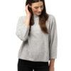 Tröja Julia - trendig kashmirtröja med högre halskant ljusgrå