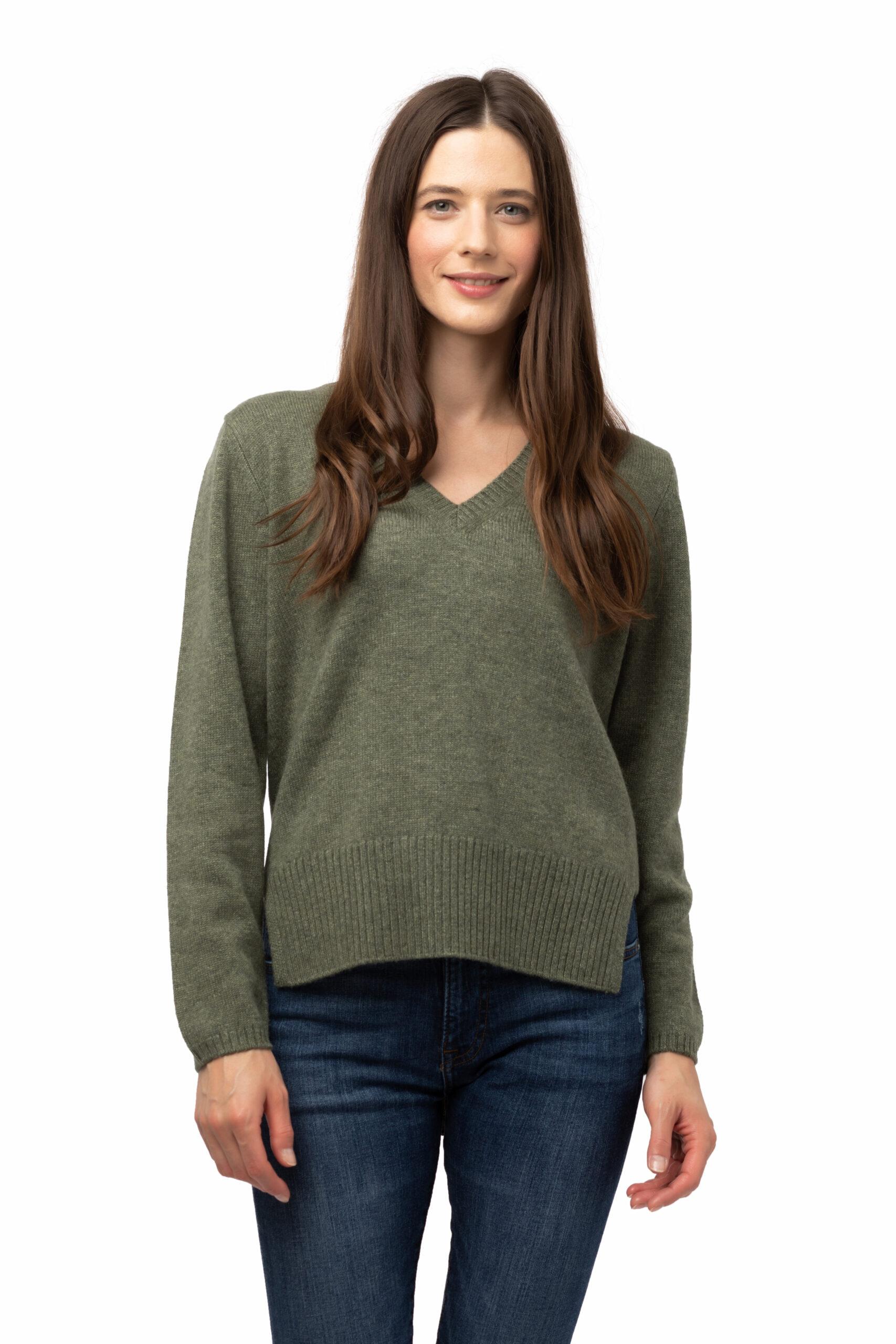 Tröja Hedda - V ringad kashmir tröja grön