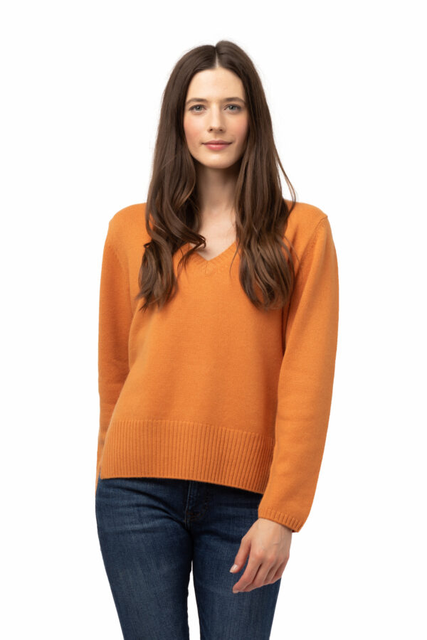 Tröja Hedda - V ringad kashmir tröja orange