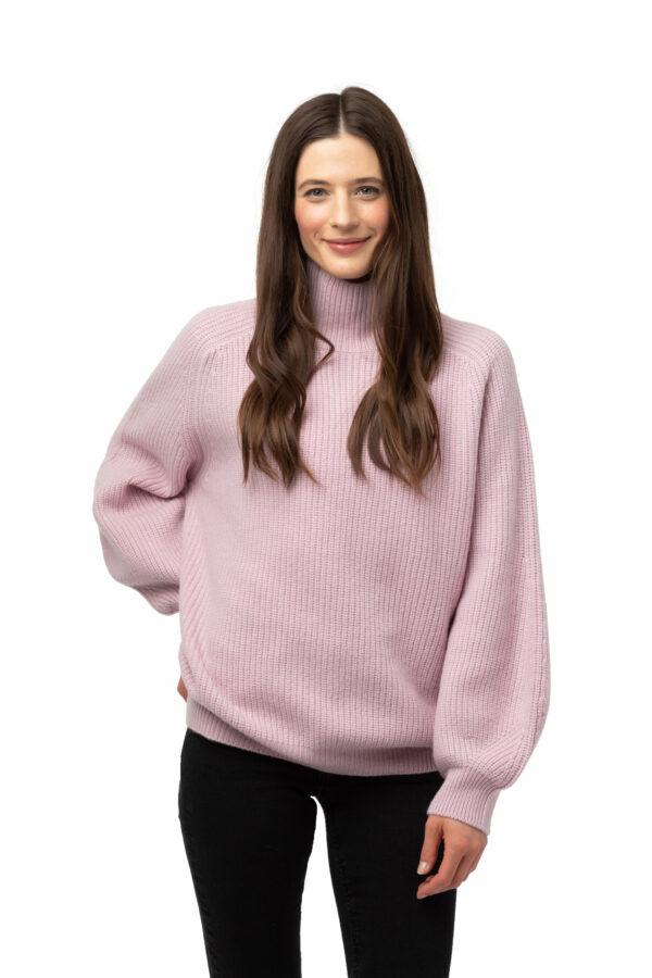 Tröja Thea halvpolo - trendig ribstickad halv polo rosa